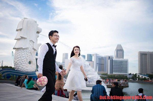 Địa điểm chụp ảnh cưới đẹp tại Singapore độc đáo, hấp dẫn,tráng lệ. Công viên Sư tử biển thu hút khách du lịch và các cặp tình nhân trong mùa cưới tới chụp ảnh.