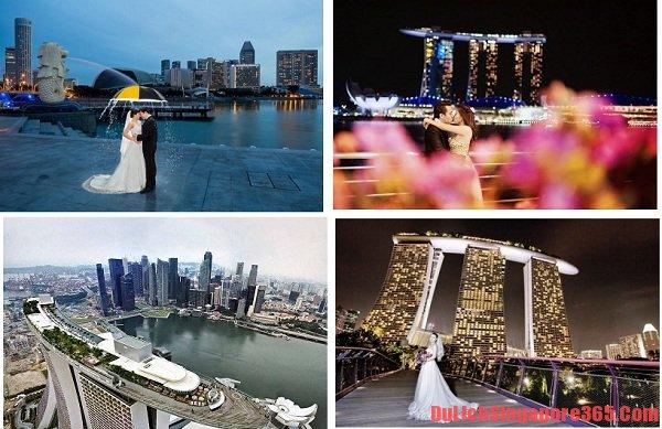 Địa điểm chụp ảnh cưới đẹp ở Singapore lí tưởng, tráng lệ. Khách sạn Marina Bay Sands sang trọng, hoành tráng là điểm chụp ảnh lí tưởng của các cặp đôi