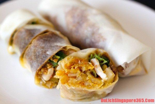 Món bánh Popiah trở thành món ăn sáng ngon hấp dẫn tại quốc đảo Singapore. Món ăn đường phố ngon, rẻ.